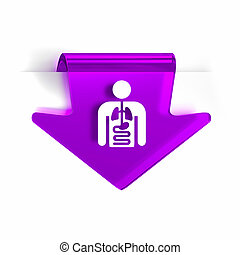 Internal Medicine - Glass arrow page marker icon with white...