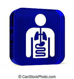 Internal Medicine - Glass button icon with white health care...