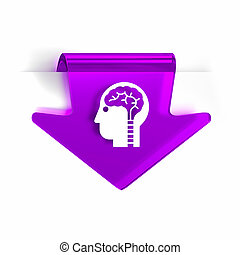 Neurology - Glass arrow page marker icon with white health...