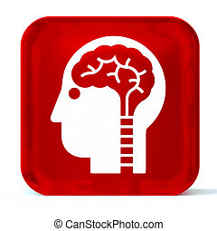 Neurology - Glass button icon with white health care sign or...