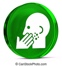 Dermatology - Round glass icon with white health care sign...