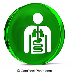 Internal Medicine - Round glass icon with white health care...