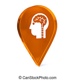 Neurology - Glass GPS marker icon with white health care...
