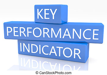 Key Performance Indicator - 3d render blue box with text Key...