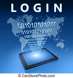 Login illustration with tablet computer on blue background