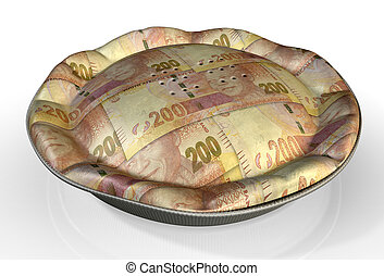 Money Pie South African Rand - A perspective view concept of...