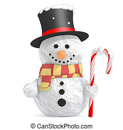 Snowman with black top hat and scarf holding candy cane in...
