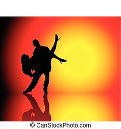 Couple Dancing - Silhouette of Couple dancing on beautiful...