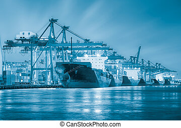 cargo ship - Cargo ship and crane at port reflect with...