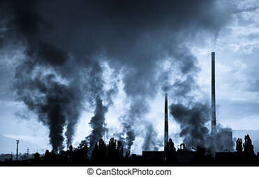 Air pollution factory Mondi in city Ruzomberok, Slovakia