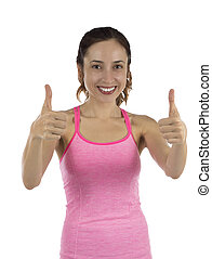 Happy woman smiling and giving thumbs up