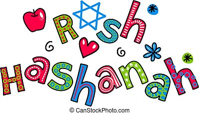Rosh Hashanah Jewish New Year Carto - Simple hand drawn...
