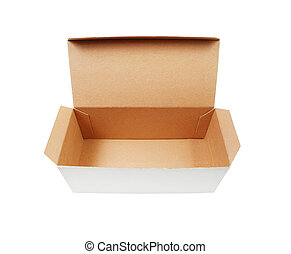 Cardboard box with flip open lid, lid open, isolated on...