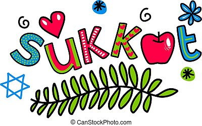 Sukkot Cartoon Doodle Text - Simple hand drawn doodle text,...