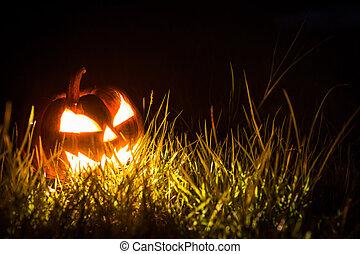 Halloween, pauroso, faccia, zucca, nero, fondo