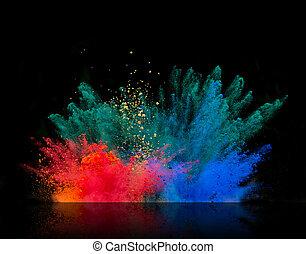 colorido, Pó, explosão, pretas, fundo