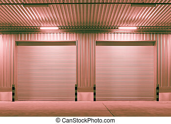 shutter door - Exterior of factory with shutter door, night...