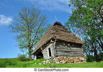 Wooden stable with thatched roof in the mountains....