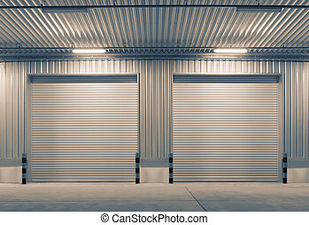 door - Shutter door outside factory, night scene