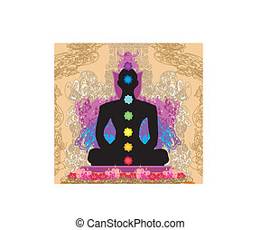 Yoga lotus pose Padmasana with chakra points