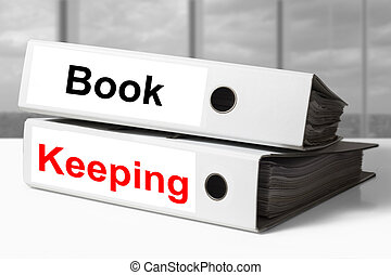 office binders bookkeeping - stack of two white office...