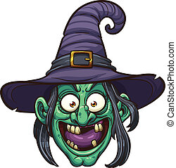 Witch face - Cartoon witch face. Vector clip art...