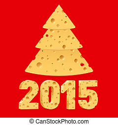 Cheese New Year symbols. - Cheese New Year tree and 2015 on...