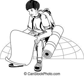 Traveler - Illustration of traveler planning to travel...