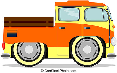 Funny retro Truck - Cute cartoon minivan Vector without...