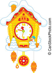 Christmas Cuckoo-Clock - Toy cuckoo clock with snow, snowman...