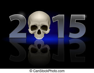 2015 with skull - 2015: metal numerals with skull instead of...