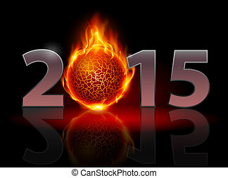 New Year 2015: metal numerals with fire ball instead of zero...