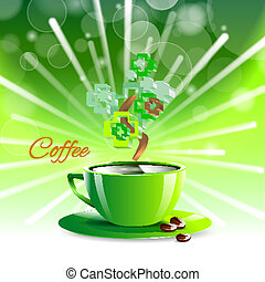 coffee drink green cup beverage background espresso