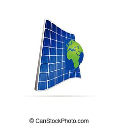 solar panel with earth color vector