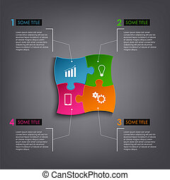 Info graphic puzzle design template vector eps 10