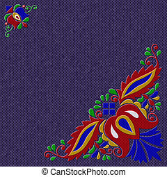Moravian folk ornament relief painting on generated knit...