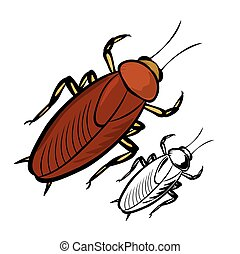 Cockroach - Vector illustration : Cockroach on a white...