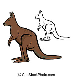 Kangaroo - Vector illustration : Kangaroo on a white...