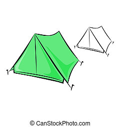 Travel tent - Vector illustration : Travel tent on a white...