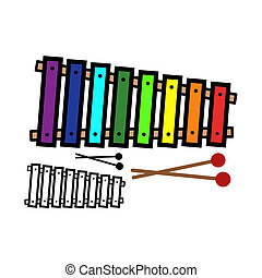 Xylophone - Vector illustration : Xylophone on a white...
