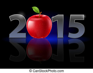 New Year 2015: metal numerals with red apple instead of zero...
