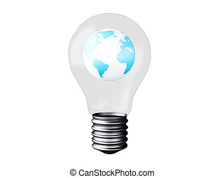 light bulb with earth planet