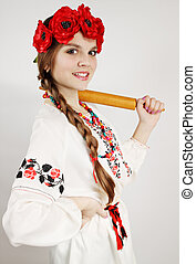 woman in national costume - Ukrainian woman in national...