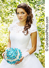 bride with a bouquet of stone