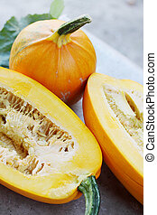 orange pumpkins - Still life of ripe organic orange pumpkins...