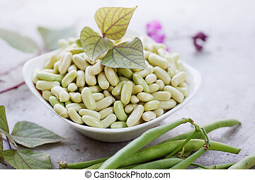 beans in a bowl - Purified fresh green beans, harvest from...