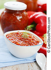 hot sauce - chutney of red sweet peppers with spices
