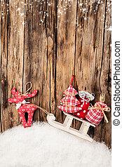 mano, hecho, tradicional, navidad, decoración, madera