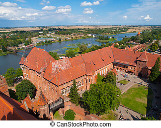 Malbork castle, aerial view from main tower, Poland