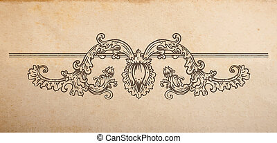 Vintage old paper texture with vector floral vignette divider, hand drawn ornament with swirls and flower